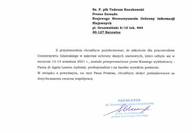 Referencje za szkolenie dla pracowników  Uniwersytetu Gdańskiego